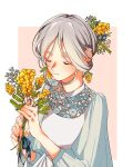 1girl aqua_nails blue_flower blush closed_eyes earrings flower flower_earrings grey_hair hair_flower hair_ornament highres jewelry lace leaf mimosa_(flower) moru0308 original pink_background plant solo upper_body white_flower yellow_flower