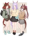 3girls animal_ears backpack bag beige_shirt black_bag black_footwear black_skirt blue_bag blue_bow blue_eyes blush bow brown_hair character_name coffee_cup commentary_request cup disposable_cup drinking_straw ear_covers english_text eyebrows_visible_through_hair green_bow green_footwear green_jacket grey_eyes hair_ornament hand_in_pocket handbag highres holding holding_cup horse_ears horse_girl horse_tail jacket long_hair looking_at_another looking_at_viewer mejiro_mcqueen_(umamusume) miniskirt multicolored_hair multiple_girls nice_nature_(umamusume) open_mouth pink_bag pink_bow pleated_skirt ponytail purple_hair redhead ribbed_sweater seisei_tamago shoes short_twintails shorts simple_background skirt smile sneakers socks sweater tail tokai_teio_(umamusume) twintails two-tone_hair umamusume very_long_hair violet_eyes yellow_sweater