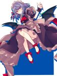 1girl alternate_color alternate_costume apron bat_wings black_dress blue_hair bow brooch commentary_request dress drop_shadow enmaided full_body hand_up highres jewelry maid maid_headdress medium_hair miko_(miko030751) red_eyes red_footwear red_nails red_neckwear red_ribbon remilia_scarlet ribbon shoes short_sleeves smile solo touhou white_background wings wrist_cuffs