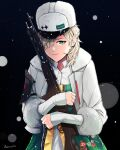 1girl artist_name blonde_hair closed_mouth darkpulsegg eyebrows_visible_through_hair fedorov_(girls_frontline) fedorov_avtomat fur-trimmed_jacket fur_trim girls_frontline green_eyes gun hair_over_one_eye highres holding holding_weapon jacket long_hair looking_at_viewer rifle simple_background smile solo traditional_clothes weapon white_headwear white_jacket