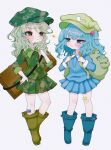 2girls :< :i absurdres annoyed aqua_hair arm_up arms_up backpack bag bandaid bandaid_on_leg blue_footwear blue_hair blue_shirt blue_skirt blush boots box brown_footwear camouflage camouflage_headwear camouflage_shirt camouflage_skirt chibi commentary_request contrapposto eye_contact eyebrows_visible_through_hair flat_cap folded_leg full_body green_eyes green_headwear grey_background hair_bobbles hair_ornament hand_on_hip hat highres holding_strap kawashiro_nitori key knee_boots lightning_glare long_sleeves looking_at_another medium_hair miniskirt multiple_girls partial_commentary pleated_skirt renakobonb shirt short_hair simple_background skirt sleeves_past_elbows standing touhou two_side_up yamashiro_takane