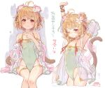 1girl 7010 andira_(granblue_fantasy) animal_ears arm_up blonde_hair blush closed_mouth covered_navel erune flower granblue_fantasy green_swimsuit hair_flower hair_ornament looking_at_viewer monkey_ears monkey_tail one-piece_swimsuit one_eye_closed short_hair sitting smile solo swimsuit tail thighs translation_request yellow_eyes