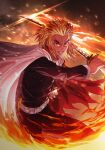 1boy absurdres belt black_jacket black_pants blonde_hair bright_pupils buttons cape fire floating_cape glowing glowing_sword glowing_weapon hand_up highres holding holding_sheath holding_sword holding_weapon jacket kimetsu_no_yaiba long_sleeves male_focus open_mouth orange_eyes pants rengoku_kyoujurou sheath solo soy_chicken sword teeth weapon white_belt white_cape
