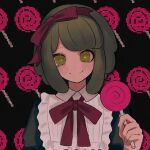 1girl bangs black_background blunt_bangs blush bow candy closed_mouth collared_shirt commentary_request danganronpa_(series) danganronpa_another_episode:_ultra_despair_girls food green_eyes green_hair hair_bow hairband holding lollipop long_sleeves looking_at_viewer red_hairband ribbon seunohala shirt short_hair smile solo towa_monaka upper_body