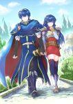 1boy 1girl blue_eyes blue_hair caeda_(fire_emblem) fire_emblem marth marth_(fire_emblem) sheeda sheeda_(fire_emblem)
