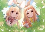 2girls :q animal_ears blonde_hair bow brown_eyes bush butterfly_net easter easter_egg egg fake_animal_ears futaba_anzu hair_bow hand_net highres ichihara_nina idolmaster idolmaster_cinderella_girls idolmaster_cinderella_girls_starlight_stage long_hair low_twintails multiple_girls orange_hair outdoors rabbit_ears red_eyes rino_cnc tongue tongue_out twintails