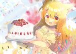 >_< 1girl :d animal animal_ear_fluff animal_ears bangs bare_shoulders blonde_hair blurry blurry_background bow braid cake closed_eyes collarbone commentary_request depth_of_field eyebrows_visible_through_hair food fox fox_ears fox_girl fox_hair_ornament fox_tail fruit hair_between_eyes hair_bow hair_ornament hairclip holding indie_virtual_youtuber jewelry kinetsuki_noa kouu_hiyoyo long_hair off-shoulder_shirt off_shoulder open_mouth pendant pennant pink_bow puffy_short_sleeves puffy_sleeves red_eyes shirt short_sleeves side_braids skirt smile solo strawberry string_of_flags tail tail_raised twin_braids very_long_hair white_skirt xd yellow_shirt