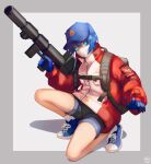 1girl absurdres autobot backpack bag baseball_cap blue_eyes blue_gloves blue_hair blue_headwear border bright_pupils denim denim_shorts genderswap genderswap_(mtf) gloves grey_background grey_border gun hat highres holding holding_gun holding_weapon insignia jacket kankitsurui_(house_of_citrus) mask mouth_mask open_hand optimus_prime outside_border personification red_jacket shadow short_hair short_shorts shorts solo surgical_mask transformers weapon white_mask white_pupils
