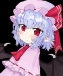 1girl absurdres ascot bat_wings blue_hair blush dress eyebrows_visible_through_hair frilled_dress frills hat hat_ribbon highres long_sleeves looking_at_viewer mob_cap pink_dress red_eyes remilia_scarlet ribbon solo touhou vreparty wings