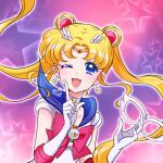 1girl ;d bishoujo_senshi_sailor_moon blonde_hair blue_eyes blue_sailor_collar bow brooch choker circlet crescent crescent_choker crescent_earrings derivative_work double_bun earrings elbow_gloves english_commentary gloves hair_ornament hairpin highres jewelry long_hair looking_at_viewer magical_girl mask mask_removed multicolored multicolored_background one_eye_closed open_mouth pink_background purple_background red_bow sailor_collar sailor_moon sailor_senshi_uniform signature smile solo star_(symbol) star_earrings starry_background tsukino_usagi twintails upper_body venuscho white_gloves white_neckwear
