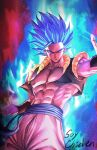 1boy abs artist_name bangs blue_hair character_request closed_mouth commentary_request cropped_vest dragon_ball energy from_below grey_eyes highres korean_commentary male_focus muscular muscular_male navel open_clothes open_vest outstretched_arm pants sash solo soy_chicken spiky_hair vest wristband