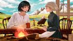 2girls 3others animal apron black_hair blonde_hair blue_eyes chair child closed_eyes clouds cloudy_sky collarbone cup day dog fire firewood flame grass heen highres holding holding_cup howl_(howl_no_ugoku_shiro) howl_no_ugoku_shiro long_sleeves looking_at_another markl mountain mountainous_horizon multiple_girls multiple_others naluse_flow older open_mouth outdoors plain pool prince_(howl_no_ugoku_shiro) rocking_chair shirt short_hair sitting sky smile sophie_(howl_no_ugoku_shiro) symbol_commentary table waist_apron water waving white_shirt witch_of_the_waste wood