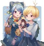 2girls :d apron arm_ribbon bangs blonde_hair blue_background blue_hair blue_shirt border closed_mouth cowboy_shot doll dragon_horns dragon_tail dress eyebrows_visible_through_hair flower green_apron green_headwear haniyasushin_keiki head_scarf highres holding holding_doll horns index_finger_raised kicchou_yachie kurokoma_saki long_hair looking_at_another moshihimechan multiple_girls open_mouth pink_eyes pocket red_eyes ribbon shirt short_hair simple_background single_strap smile standing sweatdrop tail touhou turtle_shell white_border white_flower wood_carving_tool yellow_dress