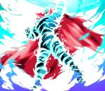 arm_up blurry cape chou_tengen_toppa_gurren-lagann clenched_hand energy floating_cape from_below glowing glowing_eyes highres legs_apart motion_blur red_cape soy_chicken tengen_toppa_gurren_lagann yellow_eyes