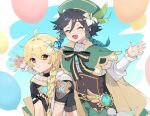 2boys aether_(genshin_impact) ahoge androgynous bangs beret black_hair blonde_hair blue_hair bow braid brooch bug butterfly cape closed_eyes collared_cape collared_shirt commentary_request corset eyebrows_visible_through_hair flower frilled_sleeves frills gem genshin_impact gradient_hair green_headwear hair_between_eyes hair_flower hair_ornament hat imoko_(imo_ss) insect jewelry leaf long_hair long_sleeves male_focus multicolored_hair multiple_boys open_mouth scarf shirt short_hair_with_long_locks simple_background smile twin_braids venti_(genshin_impact) vision_(genshin_impact) white_flower white_shirt yellow_eyes