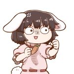 1girl anger_vein animal_ears black_hair bunny_tail carrot_necklace clenched_hands commentary_request dress inaba_tewi open_mouth pink_dress poronegi rabbit_ears shaded_face short_hair short_sleeves simple_background solo tail touhou upper_body v-shaped_eyebrows white_background