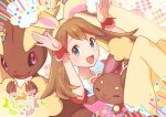 1girl :d animal_ears bangs brown_hair buneary commentary_request easter emphasis_lines eyelashes fake_animal_ears gen_4_pokemon grey_eyes hairband happy_easter long_hair looking_at_viewer lopunny may_(pokemon) open_mouth pantyhose pokemon pokemon_(creature) pokemon_(game) pokemon_masters_ex punico_(punico_poke) short_sleeves smile tongue wrist_cuffs yellow_hairband yellow_legwear