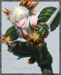 1boy :d bakugou_katsuki blonde_hair boku_no_hero_academia character_name gloves green_gloves grey_background looking_at_viewer male_focus nicame open_mouth orange_gloves red_eyes short_hair simple_background smile solo spark spiky_hair standing two-tone_gloves
