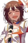 1girl absurdres amami_haruka arm_up brown_hair buttons closed_eyes commentary flower hair_flower hair_ornament hair_ribbon hano9789 highres holding holding_microphone idolmaster idolmaster_(classic) microphone open_mouth red_flower ribbon shaded_face shirt short_hair simple_background smile solo starpiece_memories_(idolmaster) sweat upper_body waving white_background white_ribbon white_shirt