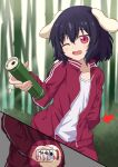 1girl alternate_costume animal_ears arm_behind_back arrow_(symbol) bamboo bamboo_forest black_hair blurry blurry_background bottle bunny_tail commentary_request contrapposto cowboy_shot day drink forest highres holding holding_bottle holding_drink inaba_tewi incoming_drink jacket leaning_to_the_side light_blush medicine_bottle multiple_views nature one_eye_closed open_mouth outdoors pants rabbit_ears red_eyes shirt short_hair solo standing sugiyama_ichirou tail touhou track_jacket track_pants translation_request white_shirt