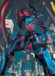 armor artist_name city copyright_name drone gashadokuro_(gate_ruler) gate_ruler helmet highres holding holding_sword holding_weapon japanese_armor kabuto looking_up mecha no_humans official_art open_hand open_mouth red_eyes science_fiction searchlight skull sword weapon yu_cheng_hong