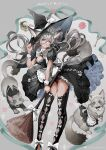 1girl absurdres animal animal_ears black_dress bow broom cat cat_ears cat_tail deadprinceee dress grey_hair hat highres lace long_hair original tail witch witch_hat