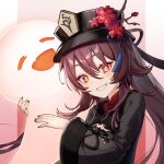 1girl brown_hair chibi_vanille closed_eyes fang flower genshin_impact ghost happy hat highres hu_tao long_hair long_sleeves open_mouth red_eyes smile solo symbol-shaped_pupils teeth wide_sleeves