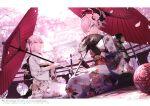 2girls absurdres ahoge architecture ball black_gloves blue_eyes building cherry_blossoms cushion east_asian_architecture eyebrows_visible_through_hair fan fate/grand_order fate_(series) floral_print folding_fan gloves hair_ornament highres huge_filesize japanese_clothes kimono looking_at_viewer mashima_saki_(mashimasa) miyamoto_musashi_(fate) multiple_girls obi oil-paper_umbrella okita_souji_(alter)_(fate) okita_souji_(fate)_(all) one_eye_closed petals railing sash scan short_hair sitting temari_ball umbrella yellow_eyes