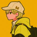 1girl backpack bag black_bag blonde_hair collared_shirt earrings flower_earrings halftone highres hood hood_down jacket jewelry original profile shirt short_hair simple_background solo yellow_background yellow_eyes yellow_headwear yellow_jacket yoshi_mi_yoshi