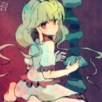 1girl barefoot blonde_hair bright_pupils dripping earlobes earrings ebisu_eika frilled_shirt frilled_skirt frills jewelry long_hair looking_at_viewer looking_back maaru_(akira428) red_background red_eyes rock shirt short_sleeves sitting skirt solo stacking stud_earrings touhou very_long_hair wariza white_shirt white_skirt