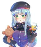 1girl absurdres bangs beret black_headwear blue_hair blush breasts caramell0501 cup drink drinking_glass eyebrows_visible_through_hair german_flag girls_frontline green_eyes hair_ornament hand_up hat highres hk416_(girls_frontline) holding holding_cup jacket long_hair long_sleeves looking_at_viewer object_hug parted_lips purple_jacket simple_background small_breasts solo stuffed_animal stuffed_toy teddy_bear upper_body very_long_hair white_background