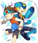 2boys :d ;) arm_cannon back-to-back black_bodysuit black_shorts blue_footwear blue_headband blue_headwear blush bodysuit boots brown_eyes brown_hair brown_vest clenched_hand commentary_request dated green_eyes grin happy headband helmet holding iroyopon lan_hikari_(mega_man) leg_up long_sleeves looking_at_viewer looking_back male_focus mega_man_(series) mega_man_battle_network megaman.exe multiple_boys netnavi one_eye_closed open_mouth personal_terminal shirt shorts signature smile spiky_hair upper_teeth vest weapon white_background white_shirt