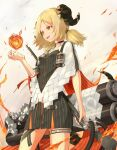 1girl :d arknights bangs black_choker black_dress blonde_hair choker cowboy_shot curled_horns determined dress fireball from_below highres horns ifrit_(arknights) jacket magic open_mouth orange_eyes parted_bangs pencil_dress piisu pinstripe_dress pinstripe_pattern short_dress short_hair short_twintails smile striped thigh_strap twintails upper_teeth v-shaped_eyebrows white_jacket