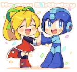 1boy 1girl :d ^_^ android blonde_hair blue_bodysuit blue_eyes blue_footwear blue_headwear bodysuit boots chibi closed_eyes commentary_request confetti dress english_text eyebrows_visible_through_hair full_body green_ribbon hair_between_eyes hair_ribbon hands_together happy happy_birthday helmet iroyopon long_hair long_sleeves looking_at_viewer mega_man_(character) mega_man_(classic) mega_man_(series) open_mouth ponytail red_dress red_footwear ribbon roll_(mega_man) smile standing upper_teeth white_background