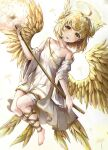 1girl :p absurdres angel angel_wings bangs barefoot blonde_hair blush breasts collarbone commentary dandelion detached_sleeves dress eyebrows_visible_through_hair feathered_wings fingernails floating flower halo head_wings highres holding holding_staff huge_filesize leg_ribbon long_sleeves medium_hair mirage_(rairudiseu) multiple_wings nail_polish original ribbon sarashi single_bare_shoulder small_breasts solo staff thick_eyebrows toenail_polish toenails tongue tongue_out white_dress wide_sleeves wings yellow_eyes yellow_nails yellow_ribbon yellow_theme yellow_wings