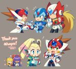 ! +++ 3boys 3girls :d :o ? alia_(mega_man) android armor axl_(mega_man) bangs blonde_hair blue_bodysuit blue_eyes blunt_bangs blush_stickers bodysuit box brown_hair closed_eyes closed_mouth coat commentary_request dated english_text facing_another flower forehead_jewel fur-trimmed_coat fur_trim gift gift_box giving green_eyes grey_background hair_over_eyes hand_up hands_clasped happy headgear headset helmet hime_cut holding holding_box holding_gift iroyopon layer_(mega_man) long_hair looking_at_another looking_away looking_down mega_man_(series) mega_man_x8 mega_man_x_(character) mega_man_x_(series) mole mole_under_eye multiple_boys multiple_girls notice_lines official_alternate_costume open_mouth own_hands_together pallette_(mega_man) pink_flower ponytail purple_hair red_headwear robot_ears signature smile spiky_hair sweatdrop thank_you twintails white_coat zero_(mega_man)
