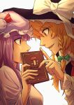 2girls absurdres bangs black_vest blonde_hair blunt_bangs book bow braid collared_shirt commentary covered_mouth eyebrows_visible_through_hair from_side green_bow green_ribbon hat hat_bow highres holding holding_book kirisame_marisa mob_cap multiple_girls mushroom open_mouth patchouli_knowledge profile purple_hair red_bow red_neckwear red_ribbon ribbon royl shirt simple_background single_braid touhou vest violet_eyes white_background white_bow white_ribbon white_shirt witch_hat yellow_eyes