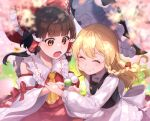 2girls :t apron bangs black_headwear black_vest blonde_hair blunt_bangs bow braid brown_eyes brown_hair cherry_blossoms closed_eyes commentary_request dango detached_sleeves eating food food_in_mouth food_theft frilled_hair_tubes frills hair_bow hair_tubes hakurei_reimu hat hat_bow jill_07km kirisame_marisa long_sleeves mixed-language_commentary multiple_girls open_mouth outdoors red_bow red_shirt red_skirt sanshoku_dango shirt single_braid skirt touhou tree vest wagashi waist_apron white_bow white_shirt wide_sleeves wind witch_hat wrist_grab yellow_neckwear