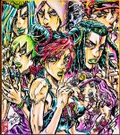 3girls 5boys alternate_hair_color arm_tattoo armband ashiya_kouhei baseball_cap blue_eyes blue_hair blue_lips bracelet braid braided_bun braided_ponytail butterfly_tattoo clenched_teeth commentary_request dated double_bun emporio_alnino enrico_pucci ermes_costello eyes_visible_through_hair facial_mark finger_cannon finger_to_mouth fingernails foo_fighters foo_fighters_(stand) green_eyes green_hair green_headwear green_lips green_nails hairlocs hand_up hat highres index_finger_raised jewelry jojo_no_kimyou_na_bouken kujo_jolyne kujo_jotaro long_hair looking_at_viewer multiple_boys multiple_girls narciso_anasui pink_hair purple_headwear purple_lips red_headwear red_lips redhead seal_impression short_hair shushing signature sleeveless stone_ocean tattoo teeth very_short_hair violet_eyes weather_report white_hair