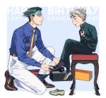2boys belt black_footwear black_legwear blue_background blue_legwear blue_shirt blush border box brown_belt brown_footwear character_name collared_shirt commentary_request dated diamond_wa_kudakenai earrings english_text eye_contact feet from_side full_body gakuran green_eyes green_hair green_headband green_jacket green_pants grey_footwear grey_hair hand_up happy_birthday headband highres hirose_koichi jacket jewelry jojo_no_kimyou_na_bouken k_(gear_labo) kishibe_rohan legs long_sleeves looking_at_another louis_vuitton_(brand) male_focus multiple_boys necktie one_knee pants putting_on_shoes school_uniform shiny shiny_hair shirt shirt_tucked_in shoebox shoes short_hair sitting smile socks spiky_hair stool sweatdrop thick_eyebrows upper_teeth white_border white_pants yellow_neckwear