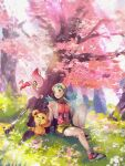 1girl against_tree alternate_color bangs bike_shorts blurry celebi cherry_blossoms commentary_request cropped_jacket day eyelashes gen_2_pokemon grass green_eyes green_hair hair_tie hanenbo highres jacket kris_(pokemon) light_beam long_hair looking_to_the_side mythical_pokemon open_clothes open_jacket outdoors pokemon pokemon_(creature) pokemon_(game) pokemon_gsc shiny_pokemon shoes signature sitting teddiursa tied_hair tree twintails