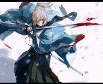 1girl belt blonde_hair fate/grand_order fate_(series) hakama haori highres holding holding_sword holding_weapon hoshi_rasuku japanese_clothes katana kimono okita_souji_(fate) okita_souji_(fate)_(all) ponytail scarf sheath simple_background solo sword weapon white_background yellow_eyes