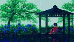 1girl animated animated_gif black_hair flower from_behind gazebo green_theme hair_flower hair_ornament japanese_clothes kimono lowres original outdoors pixel_art rain red_kimono reflection scenery sky smoking solo toyoi_yuuta tree