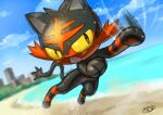 clouds commentary_request day fangs gen_7_pokemon kaosu_(kaosu0905) litten motion_lines no_humans open_mouth outdoors paws pokemon pokemon_(creature) sand shore signature sky solo toes tongue water