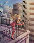 1girl blonde_hair blue_eyes blue_sky breasts building eyepatch highres interface_headset l-phy leaning_on_rail medium_breasts neon_genesis_evangelion plugsuit railing rebuild_of_evangelion shadow shikinami_asuka_langley signature sky skyline solo souryuu_asuka_langley