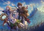 1girl 2boys animal_ears bird blonde_hair blue_eyes braid brown_eyes brown_hair elf fantasy gloves grass highres kuroi_susumu long_hair multiple_boys official_art outdoors pointy_ears rabbit_boy rabbit_ears scenery sheath sheathed short_hair sky staff sword sword_world_2.5 weapon