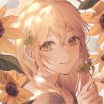 1girl bangs blonde_hair brown_jacket chinese_commentary close-up clover commentary_request eyelashes flower four-leaf_clover green_eyes grey_background hair_between_eyes hand_up holding holding_flower jacket kuiqiu_kq long_hair looking_at_viewer original portrait shirt simple_background sunflower white_shirt