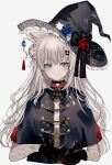 1girl animal_ear_fluff animal_ears ascot bangs black_coat black_gloves black_headwear black_neckwear blue_eyes bow brooch cat_ears chiemo_(xcem) choker coat crescent crescent_hat_ornament flower frilled_hat frills gloves grey_hair hair_bun hat hat_bow hat_flower hat_ornament jewelry long_hair looking_at_viewer original simple_background smile solo toggles upper_body white_background witch witch_hat