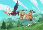 absurdres braviary brown_fur closed_mouth commentary_request day dodrio flying from_below gen_1_pokemon gen_5_pokemon grass highres hill leaves_in_wind open_mouth outdoors pokemon pokemon_(creature) q-chan sky standing tongue tree