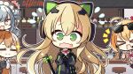 >_< +_+ 4girls 7:08 animal_ears bangs blonde_hair blush blush_stickers brown_hair cafe cat_ear_headphones chair character_request cheering chibi closed_eyes commentary_request embarrassed eyebrows_visible_through_hair eyewear_on_head f fake_animal_ears gift girls_frontline green_eyes hair_between_eyes hair_ornament hair_ribbon headphones highres holding holding_gift kalina_(girls_frontline) long_hair long_sleeves looking_at_viewer m1903_springfield_(girls_frontline) multiple_girls open_mouth orange_hair ribbon sidelocks smile star_(symbol) sunglasses table tail tail_ornament tmp_(girls_frontline) upper_body